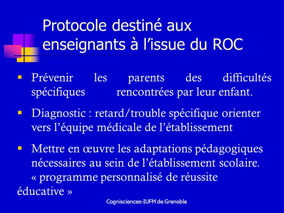 Protocole destiné aux enseignants à l'issue du ROC