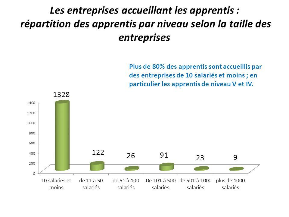 Les entreprises accueillant les apprentis : répartition des apprentis par niveau selon la taille des entreprises