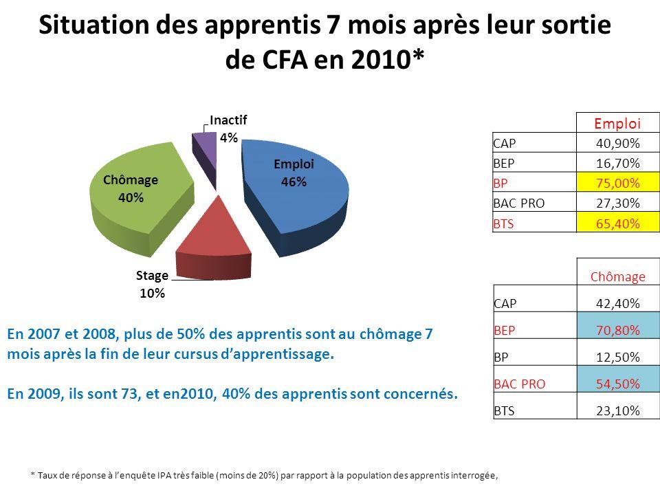 Situation des apprentis 7 mois après leur sortie de CFA en 2010*