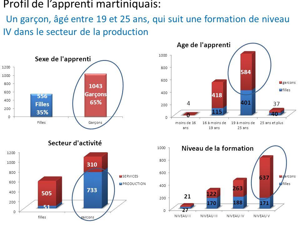Profil de l'apprenti martiniquais: Un garçon, âgé entre 19 et 25 ans, qui suit une formation de niveau IV dans le secteur de la production