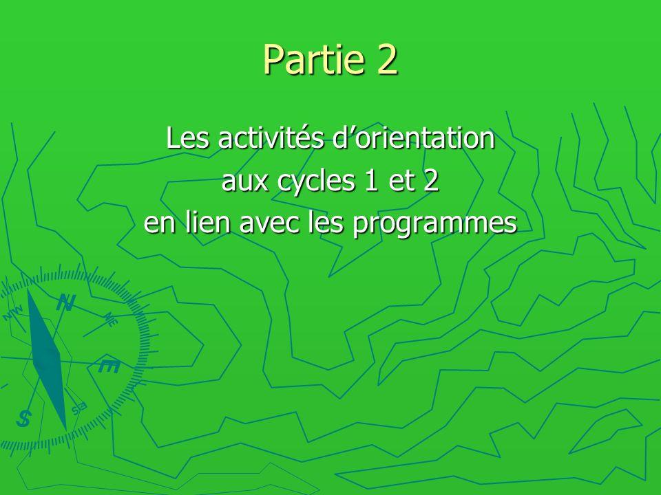 Partie 2 Les activités d'orientation aux cycles 1 et 2
