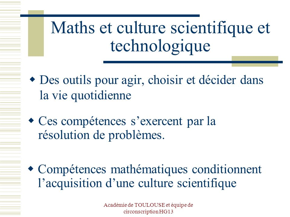 Maths et culture scientifique et technologique