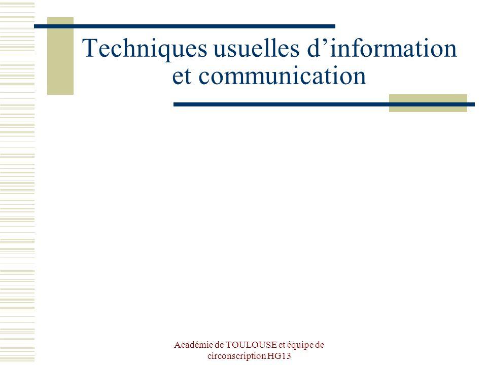 Techniques usuelles d'information et communication