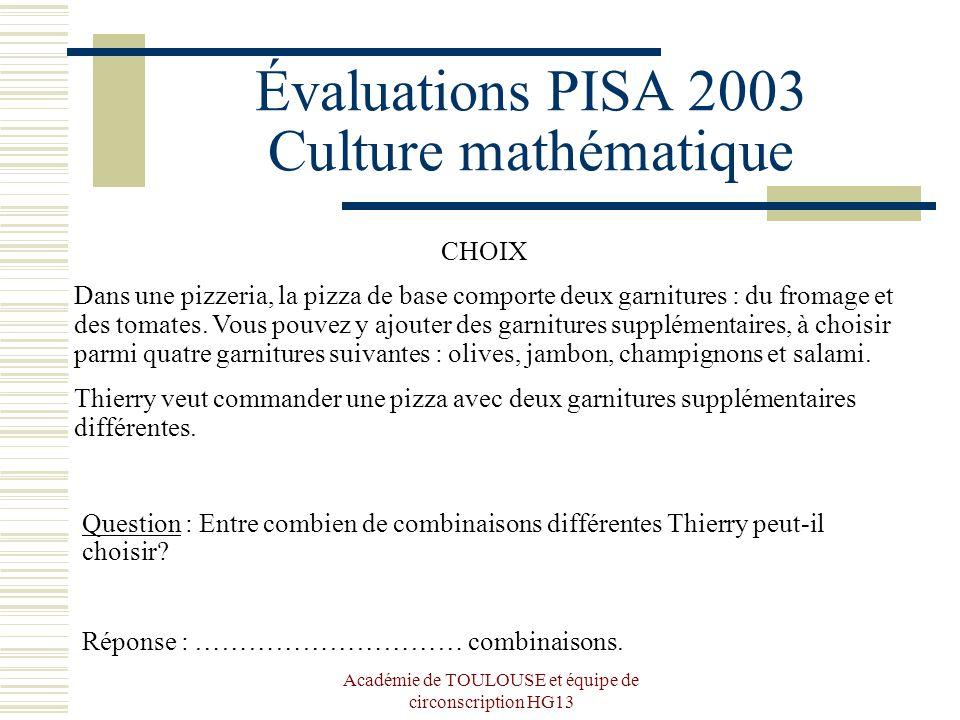 Évaluations PISA 2003 Culture mathématique
