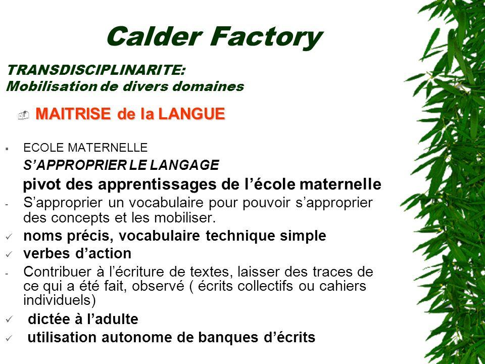 Calder Factory MAITRISE de la LANGUE S'APPROPRIER LE LANGAGE