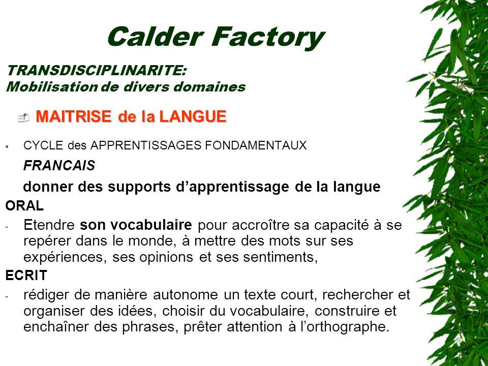 Calder Factory MAITRISE de la LANGUE FRANCAIS