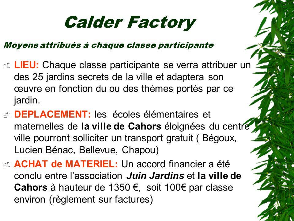 Calder Factory Moyens attribués à chaque classe participante.