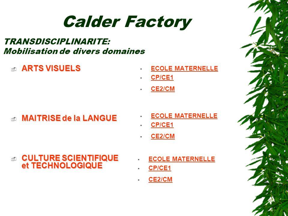 Calder Factory TRANSDISCIPLINARITE: Mobilisation de divers domaines