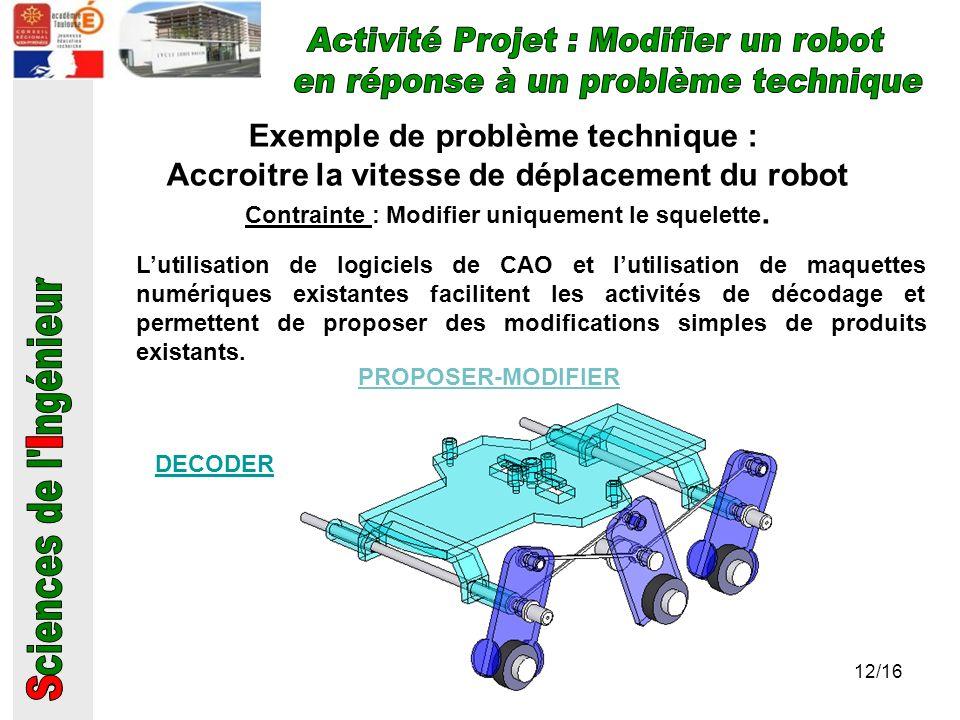 Activité Projet : Modifier un robot en réponse à un problème technique