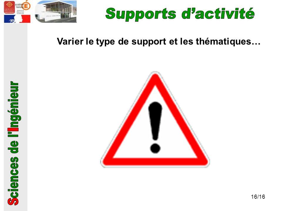 Varier le type de support et les thématiques…