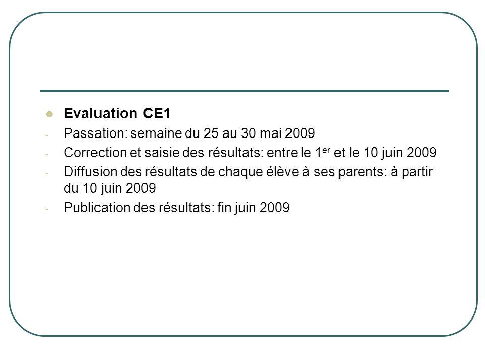 Evaluation CE1 Passation: semaine du 25 au 30 mai 2009
