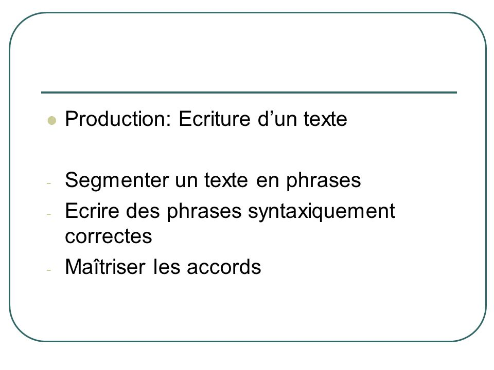 Production: Ecriture d'un texte