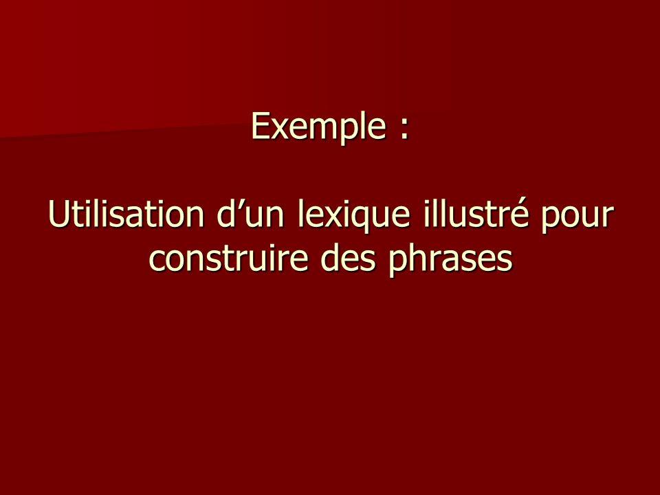 Exemple : Utilisation d'un lexique illustré pour construire des phrases