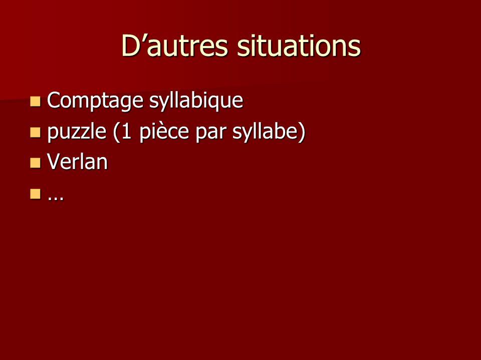 D'autres situations Comptage syllabique puzzle (1 pièce par syllabe)