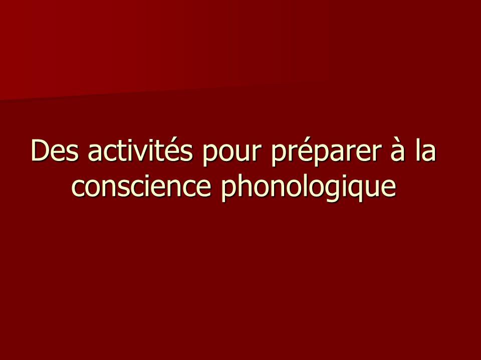 Des activités pour préparer à la conscience phonologique