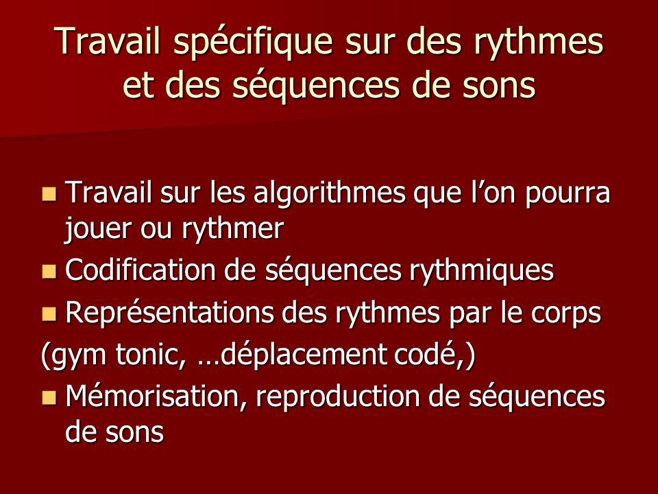 Travail spécifique sur des rythmes et des séquences de sons
