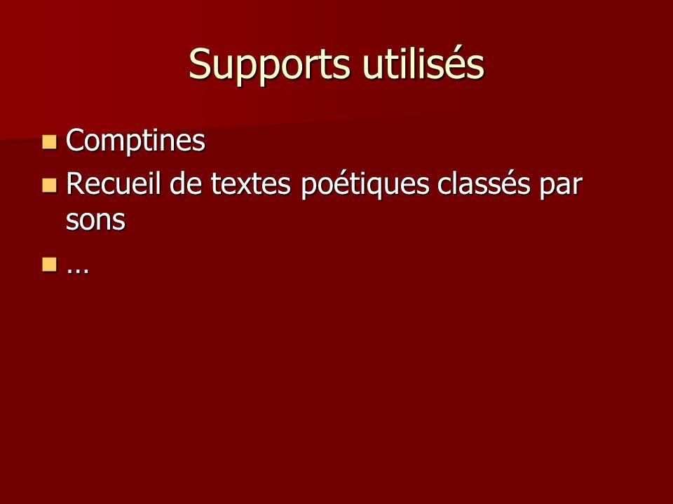 Supports utilisés Comptines