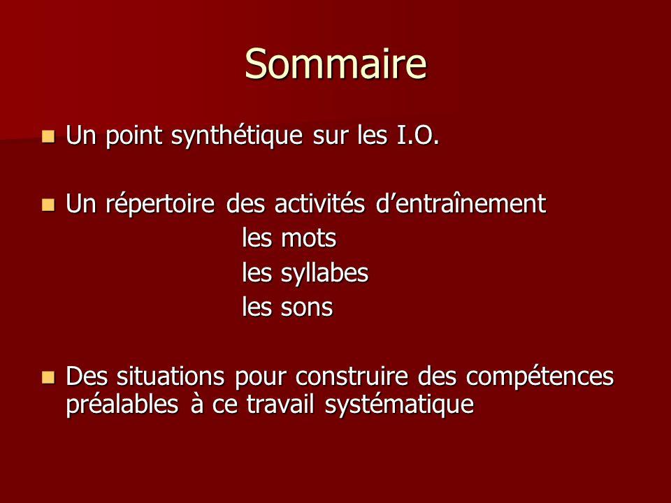 Sommaire Un point synthétique sur les I.O.