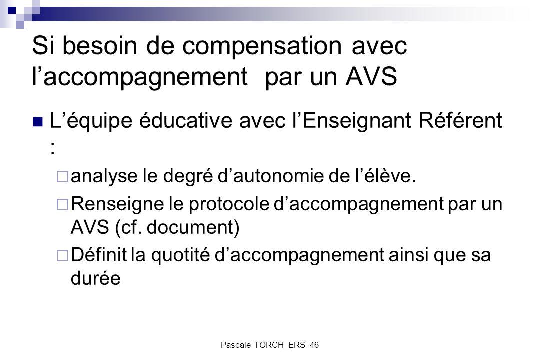 Si besoin de compensation avec l'accompagnement par un AVS