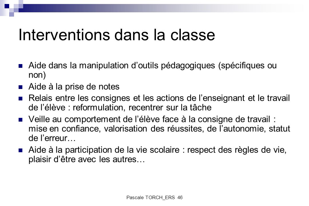 Interventions dans la classe