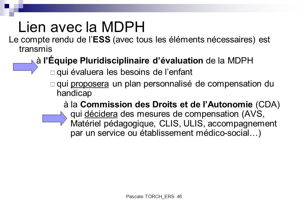 Lien avec la MDPHLe compte rendu de l'ESS (avec tous les éléments nécessaires) est transmis. à l'Équipe Pluridisciplinaire d'évaluation de la MDPH.