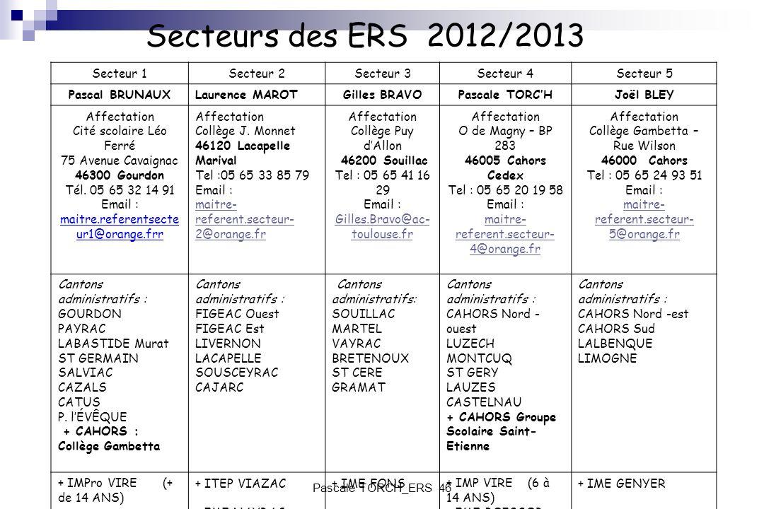 Secteurs des ERS 2012/2013 Secteur 1 Secteur 2 Secteur 3 Secteur 4