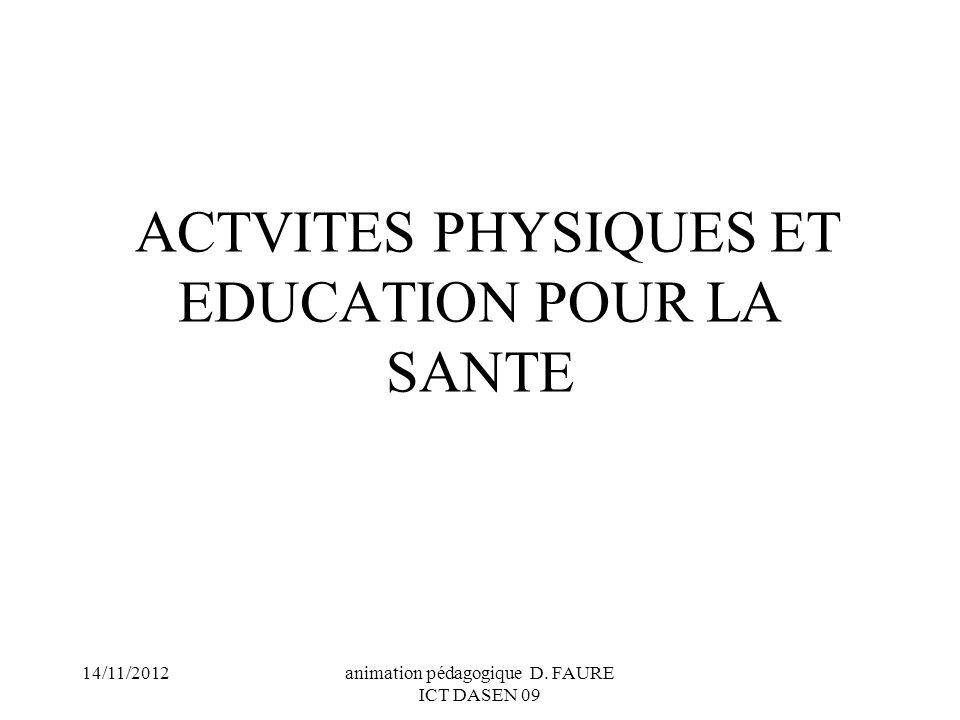 ACTVITES PHYSIQUES ET EDUCATION POUR LA SANTE
