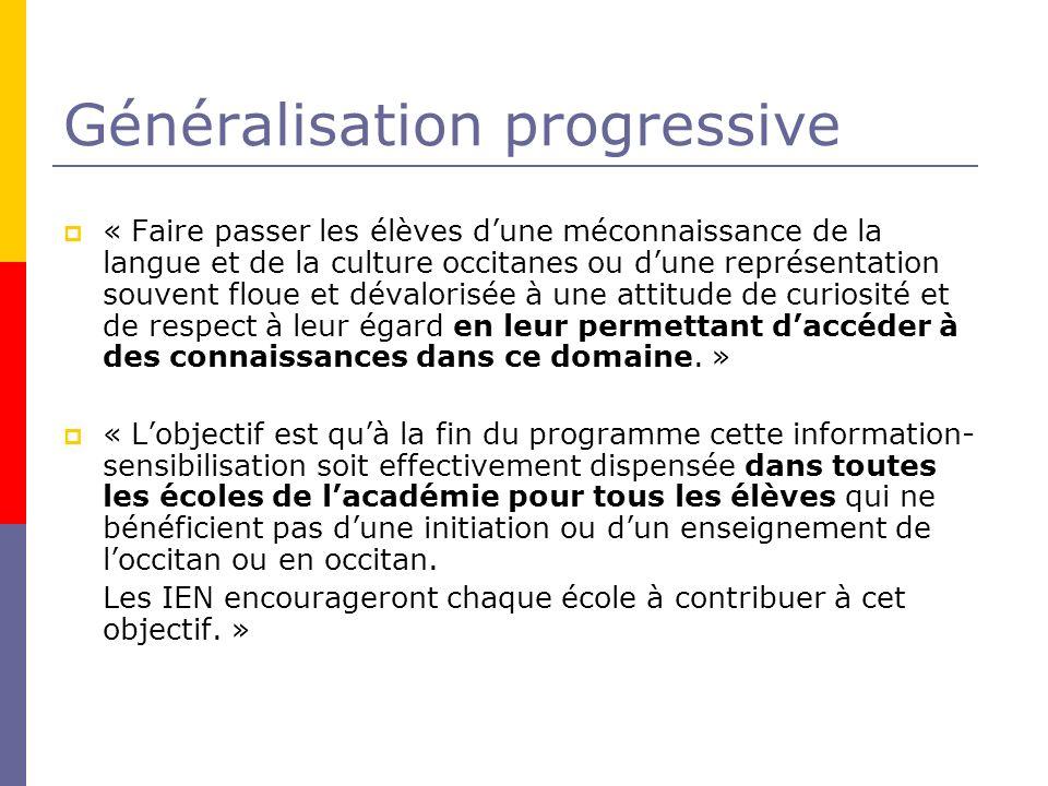 Généralisation progressive