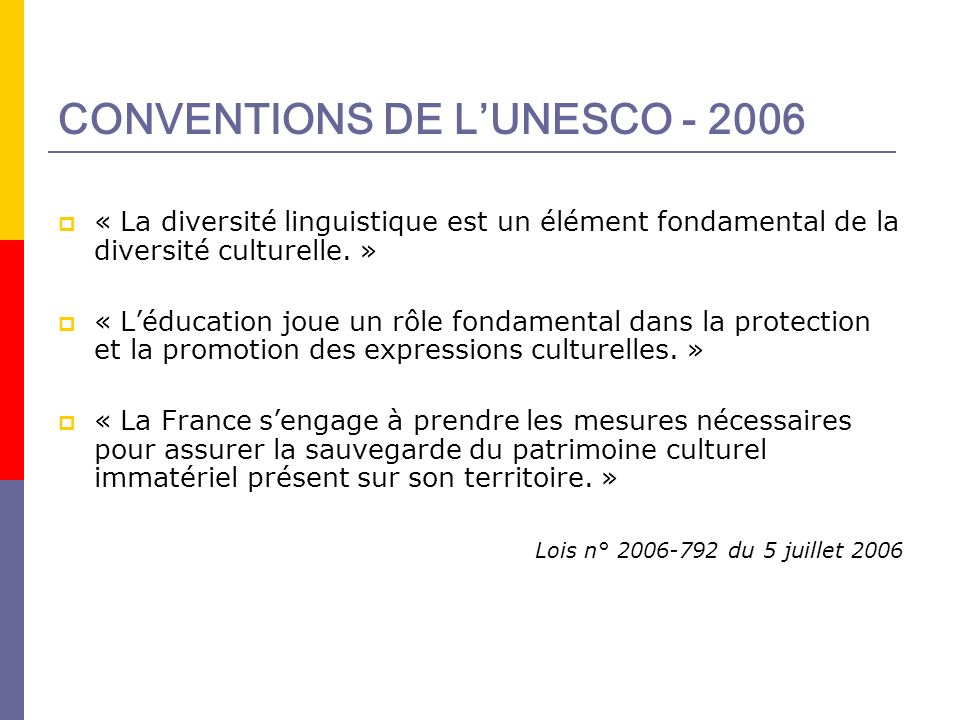 CONVENTIONS DE L'UNESCO - 2006