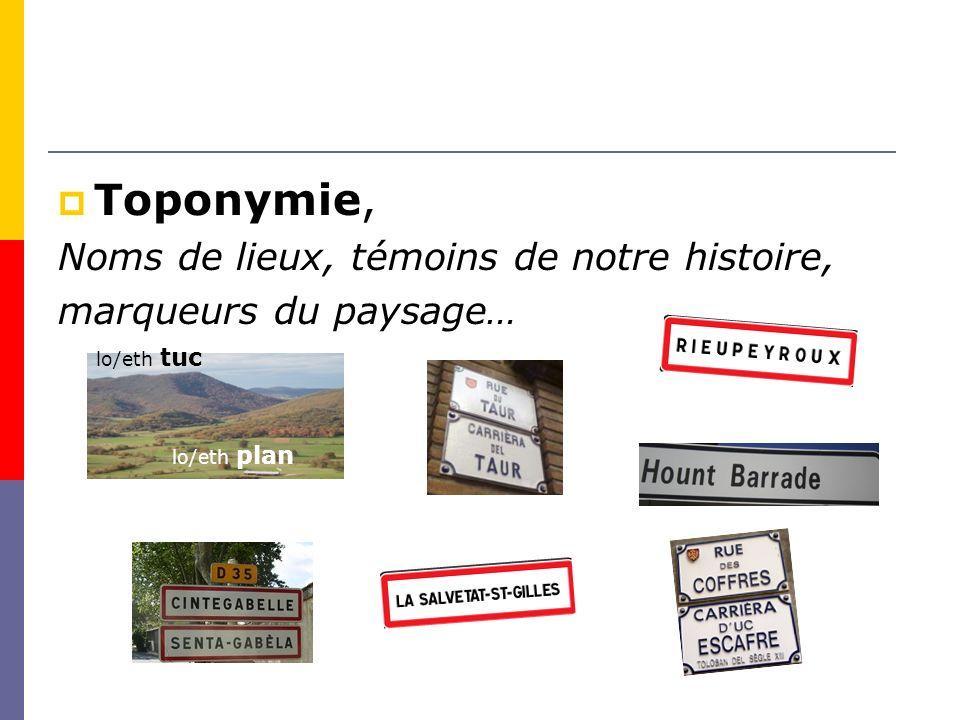Toponymie, Noms de lieux, témoins de notre histoire,