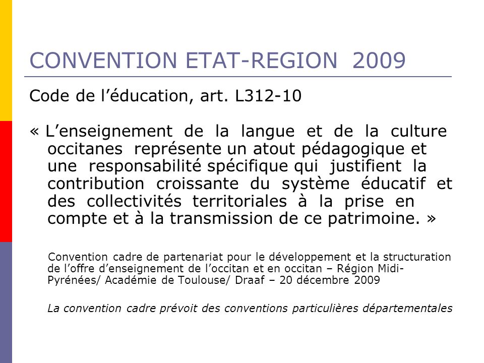 CONVENTION ETAT-REGION 2009