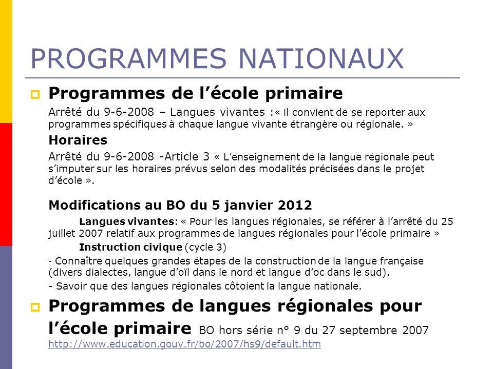 PROGRAMMES NATIONAUX Modifications au BO du 5 janvier 2012