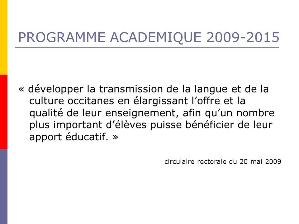 PROGRAMME ACADEMIQUE 2009-2015