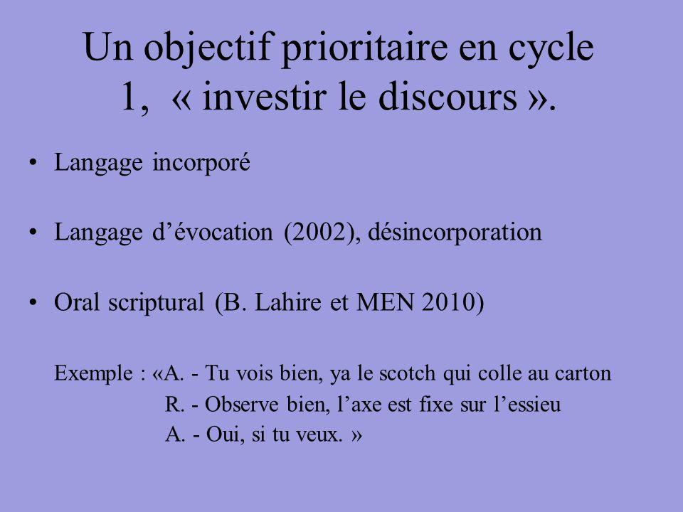 Un objectif prioritaire en cycle 1, « investir le discours ».