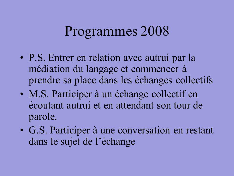 Programmes 2008 P.S. Entrer en relation avec autrui par la médiation du langage et commencer à prendre sa place dans les échanges collectifs.
