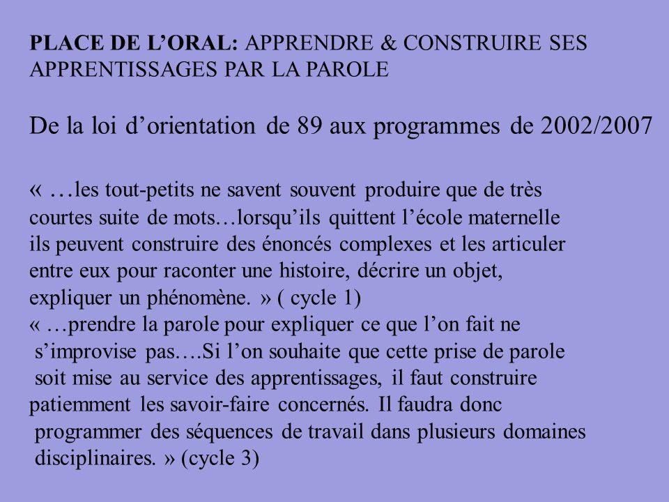 De la loi d'orientation de 89 aux programmes de 2002/2007