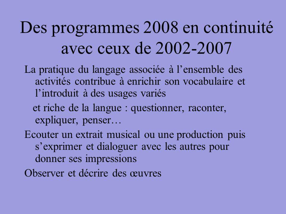 Des programmes 2008 en continuité avec ceux de 2002-2007