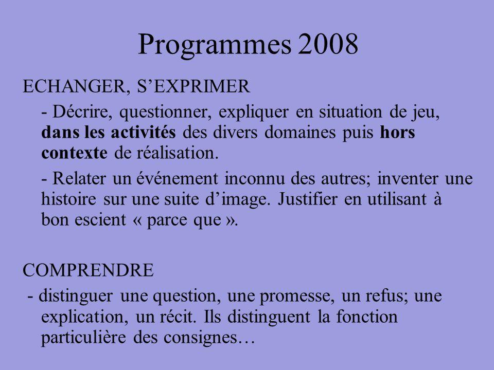 Programmes 2008 ECHANGER, S'EXPRIMER