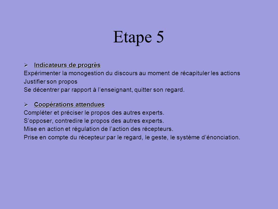 Etape 5 Indicateurs de progrès