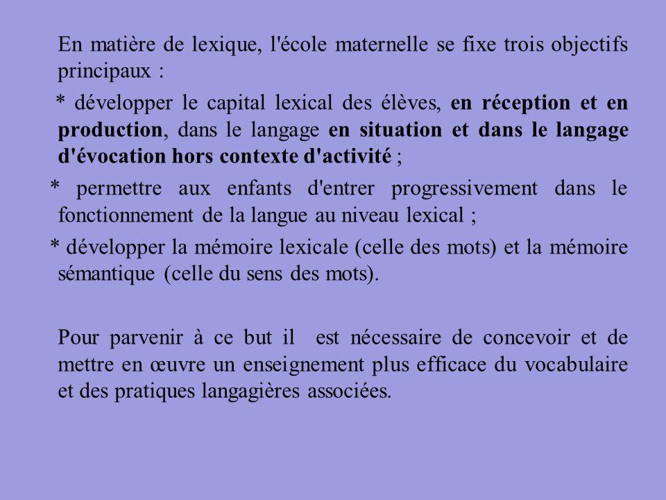En matière de lexique, l école maternelle se fixe trois objectifs principaux :