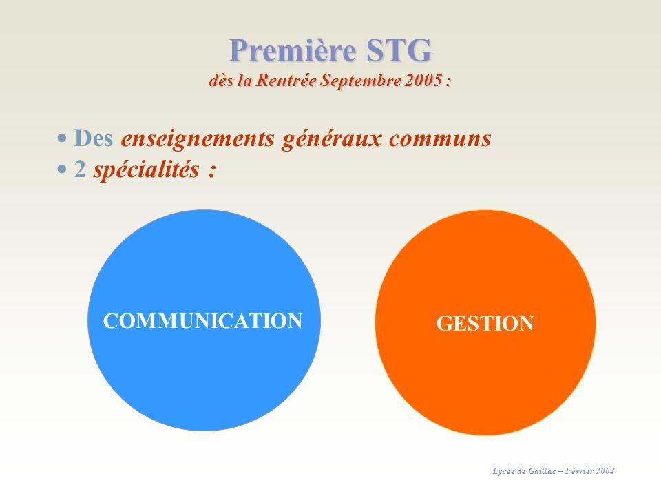 Première STG dès la Rentrée Septembre 2005 :