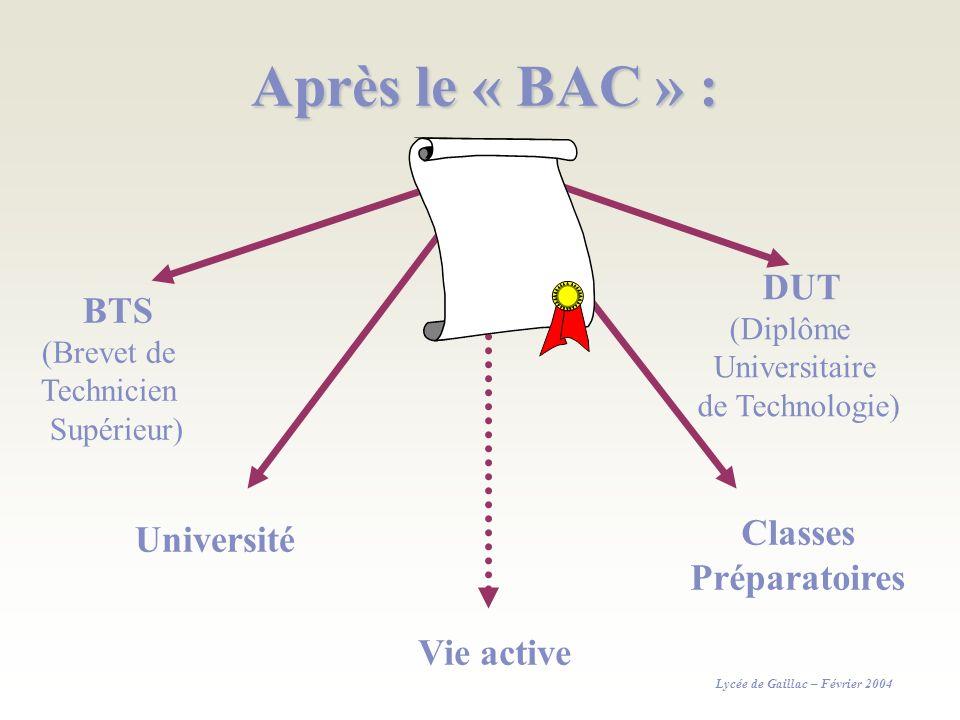 Après le « BAC » : Classes Préparatoires Vie active DUT BTS (Diplôme