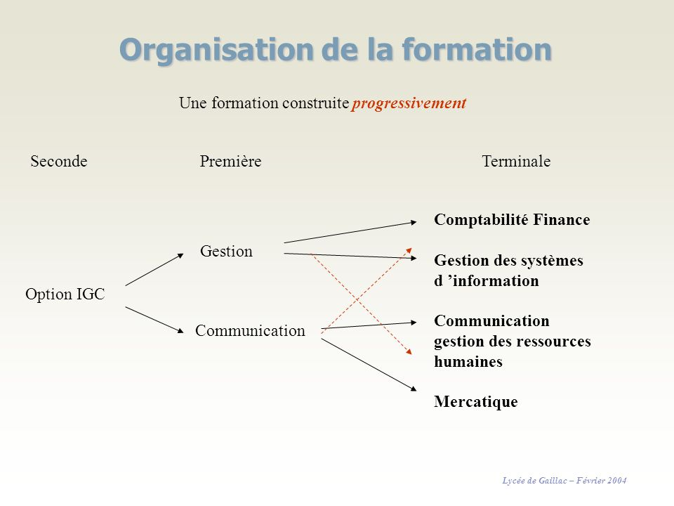 Organisation de la formation