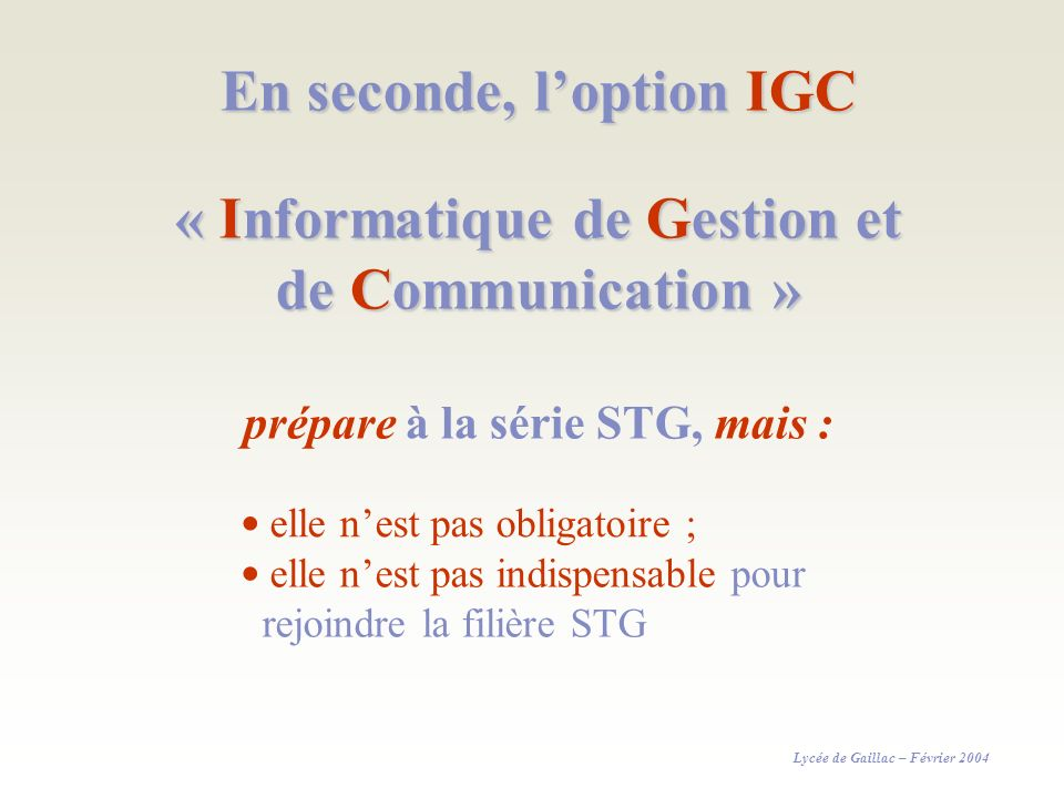 En seconde, l'option IGC