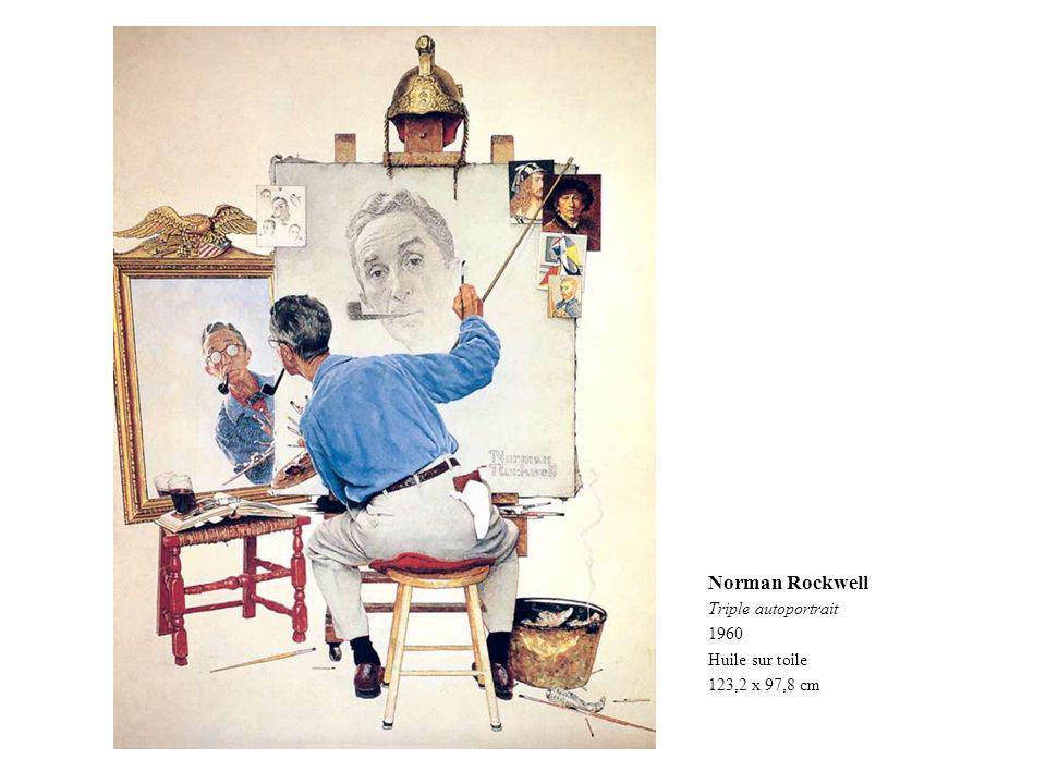 Norman Rockwell Triple autoportrait 1960 Huile sur toile