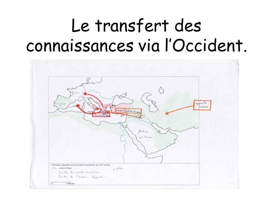 Le transfert des connaissances via l'Occident.