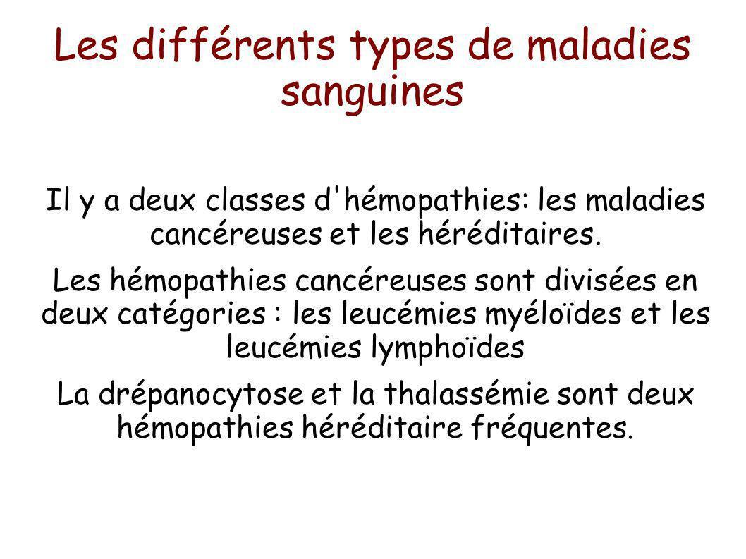 Les différents types de maladies sanguines