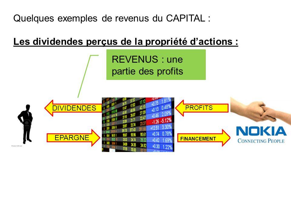 Quelques exemples de revenus du CAPITAL :