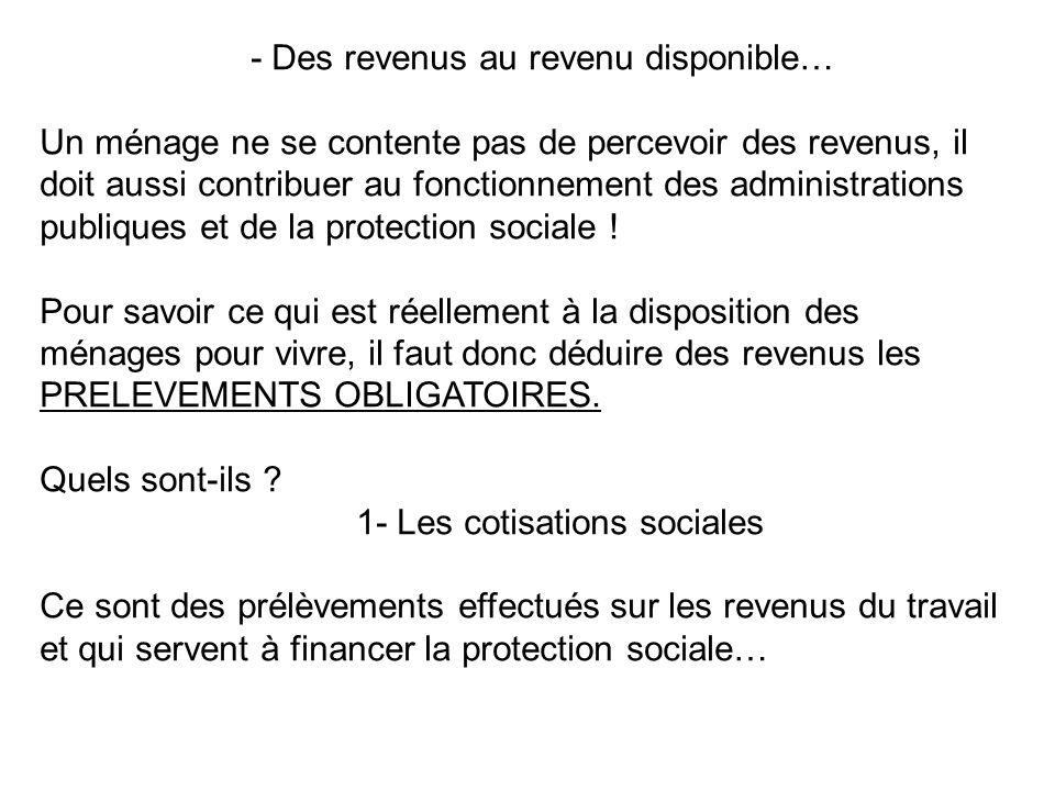 1- Les cotisations sociales