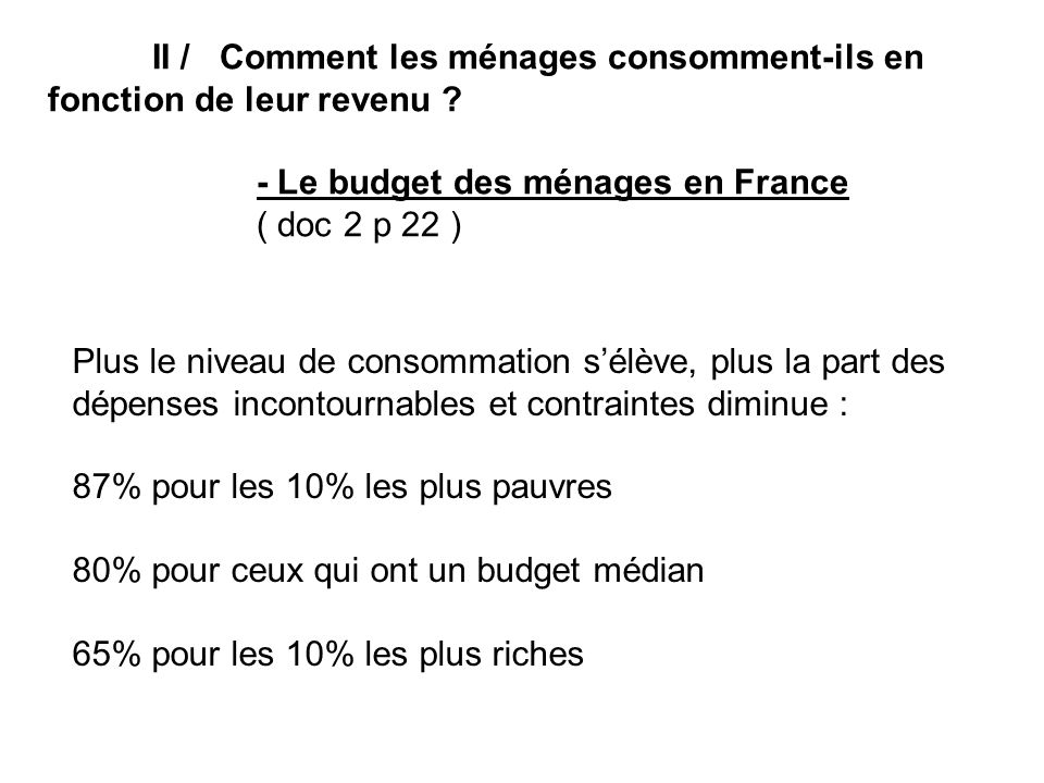 - Le budget des ménages en France ( doc 2 p 22 )